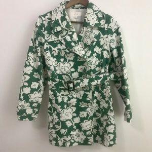 Merona Green White Floral Tench Coat 100% Cotton M